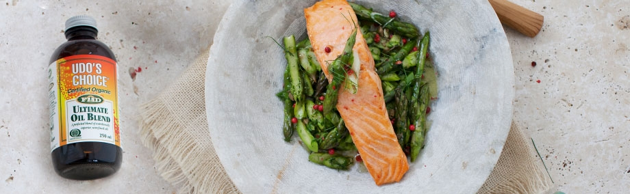 Seared Organic Salmon With Asparagus & Udo's Choice Salsa