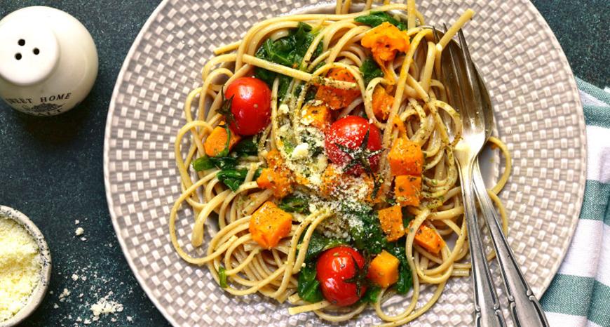 Roasted Seasonal Vegetables Spaghetti