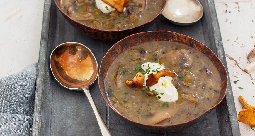 Wild Mushroom Soup with Lemon Crème Fraiche & Udo's Oil